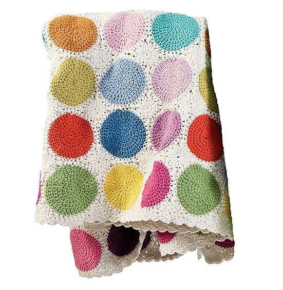 Circle crochet throw