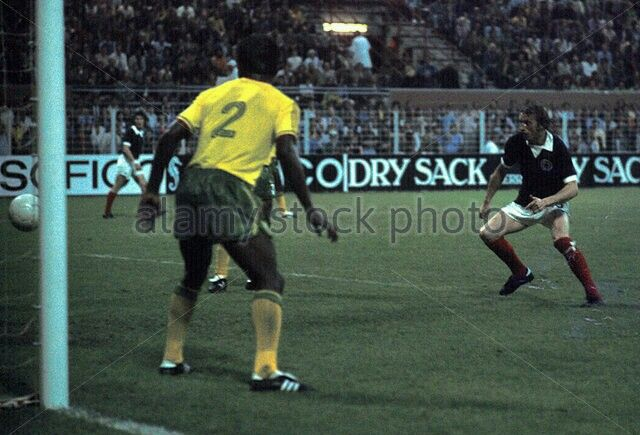 Scotland 2 Zaire 0 in 1974 in Dortmund. Denis Law goes close in Group 2 at the World Cup Finals.