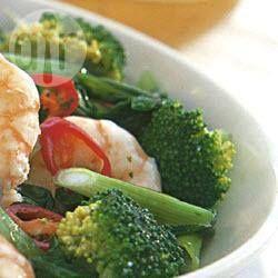 Prawns with broccoli, bok choy & basil