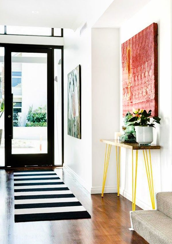 ChicDecó: metal vintage furniture with a pop of yellow, photo credit: Collected Interiors