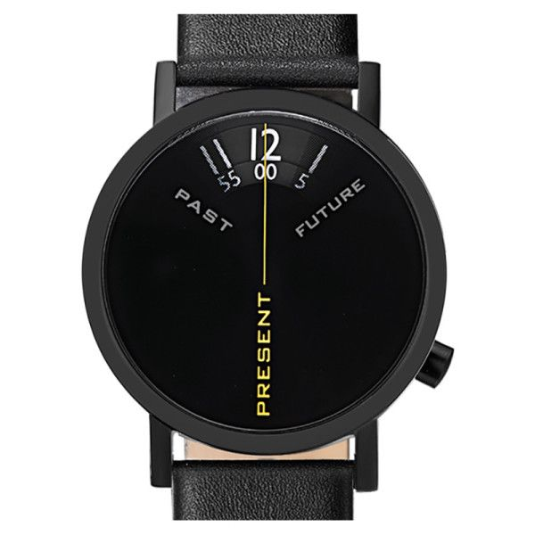 Projects Will Harris Past Present Future Black Leather Watch (€140) ❤ liked on Polyvore featuring jewelry, watches, leather watches, leather wrist watch, twist jewelry, digital watches and black face watches