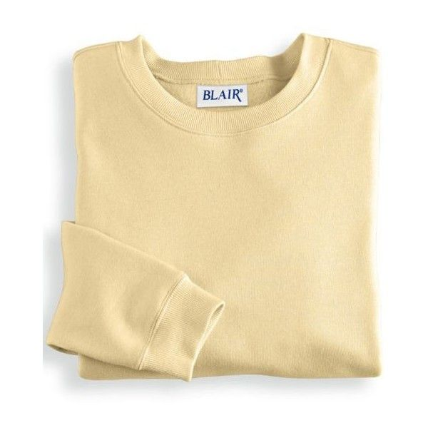 Blair   Better-Than-Basic Sweatshirt ($17) ❤ liked on Polyvore featuring tops, hoodies, sweatshirts, sweatshirt, sweaters, shirts, yellow, ribbed top, crewneck sweatshirt and crew-neck shirts