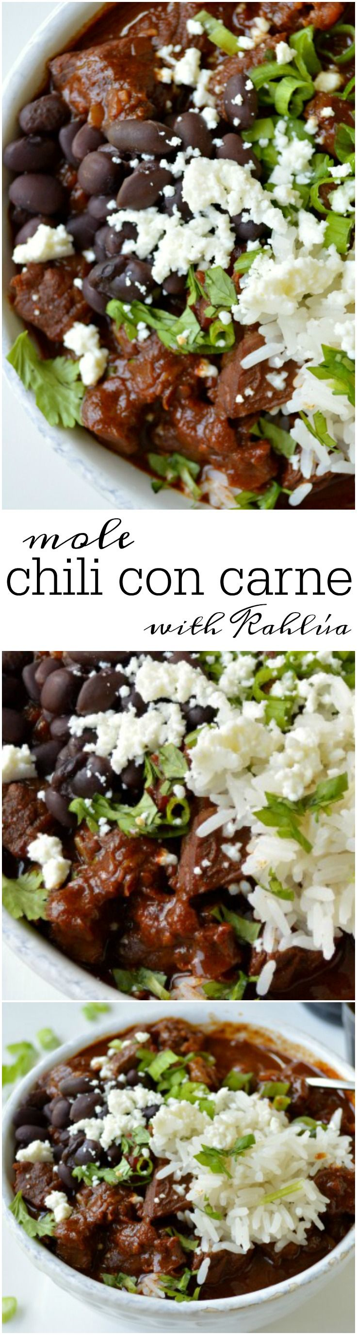 Tender beef, the perfect amount of spice, and a hint of dark chocolate make this Mole Chili con Carne THE BEST chili recipe!