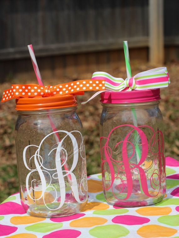Mason jars initialed and with straws