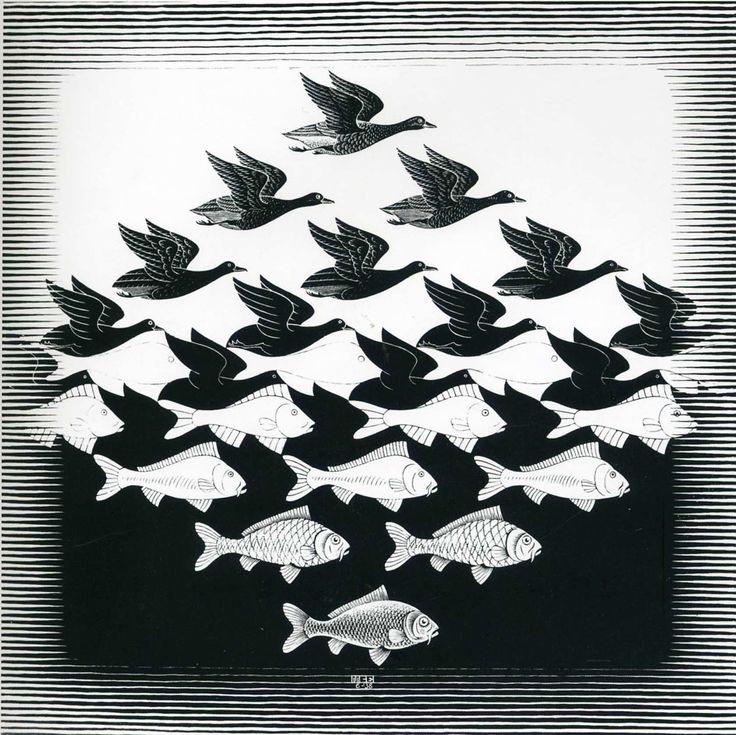 Escher M Optical Illusion Art | ... And Fish Pattern - A optical illusion m c escher art wallpaper picture