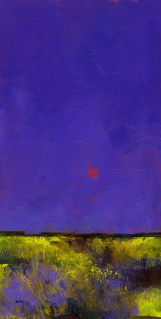 Paul Bailey, Red moon, 7 x 14 inches, 2013. The hue of the sky is stunning.