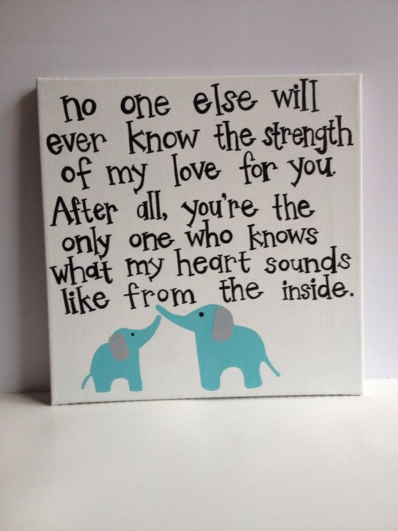 Elephant nursery art with quote, white and aqua, made to match bedding on Etsy, $43.00