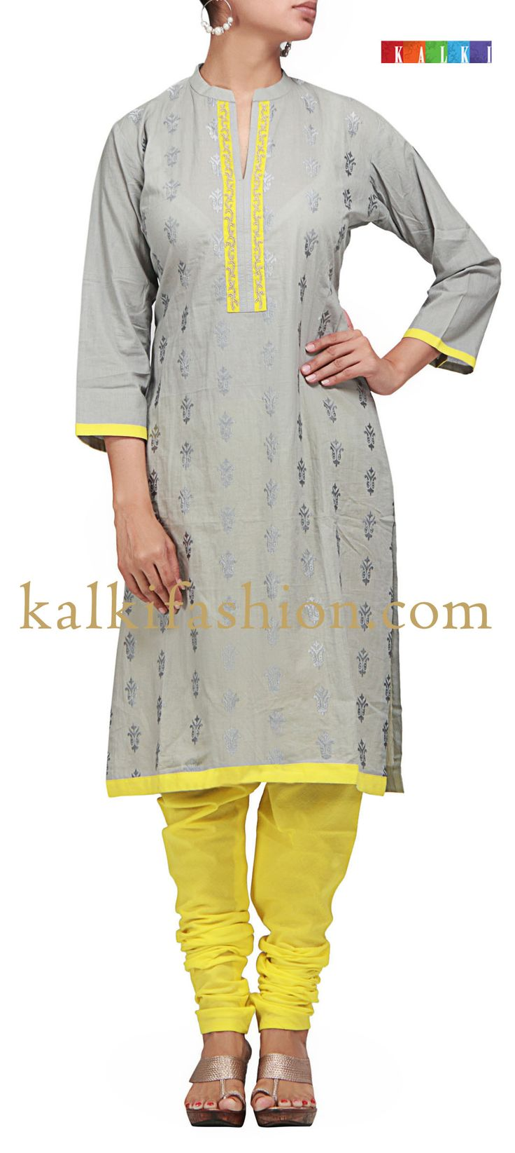 Buy it now  http://www.kalkifashion.com/grey-and-yellow-suit-with-resham-embroidery.html  Grey and yellow suit with resham embroidery