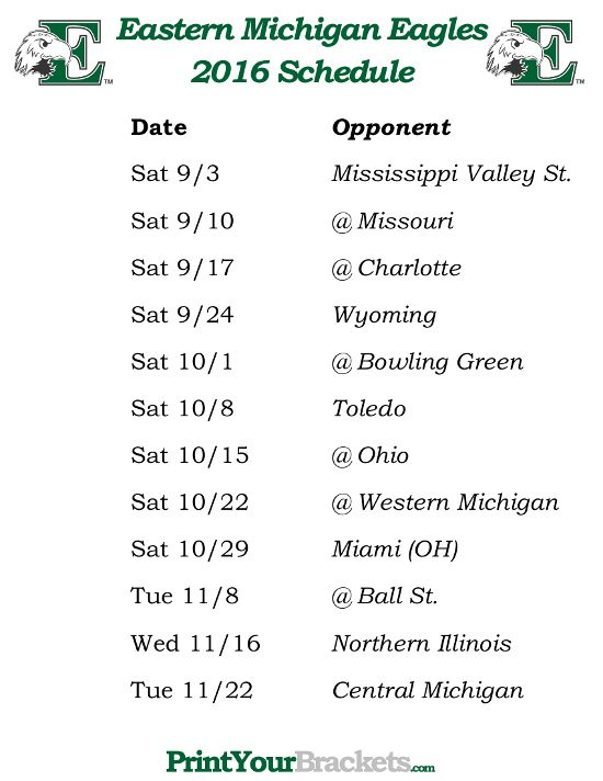 Printable Eastern Michigan Eagles 2016 Football Schedule
