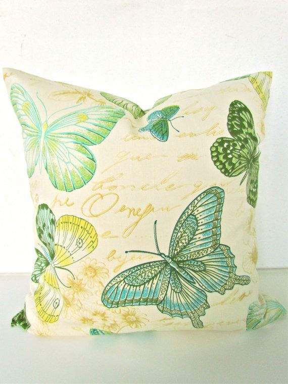 THROW PILLOW COVER 12x16 Green Turquoise Designer Decorative Throw Pillows Butterfly 12 x 16 ...