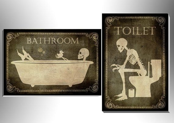 Toilet and bathroom signes,art,skull,skeleton,gothic,goth,funny,door sign,foam board,