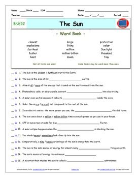 Bill Nye - The Sun  Worksheet, Answer Sheet, and Two Quizzes