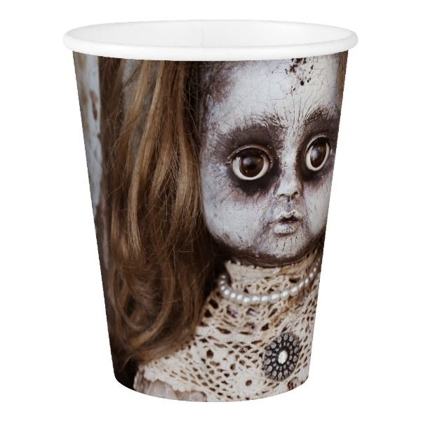 Creepy Gothic Porcelain Doll Victorian Goth Paper Cup #halloween #holiday #drinkware #party #cups