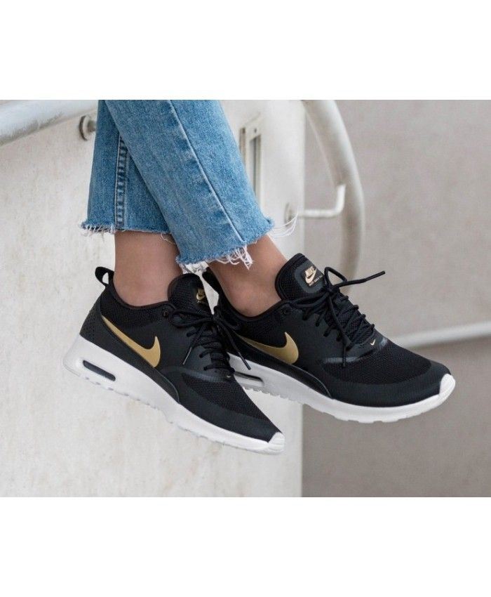 f1e9cc288 Nike Air Max Thea Black Metallic Gold Trainers