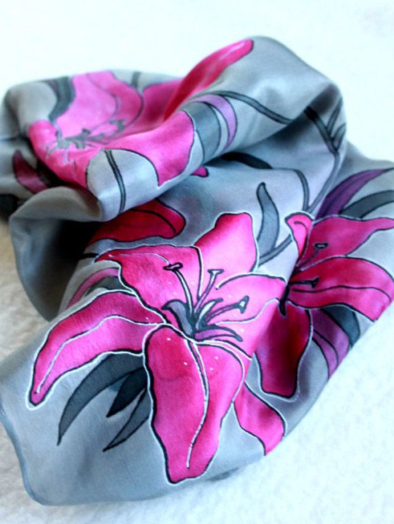 Hand painted silk scarf-Pink liliesflowerfloral by Aryonelle