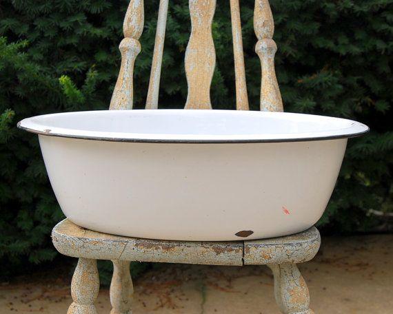 Large Enamelware Basin Or Tub Wash Tubs Bowls And