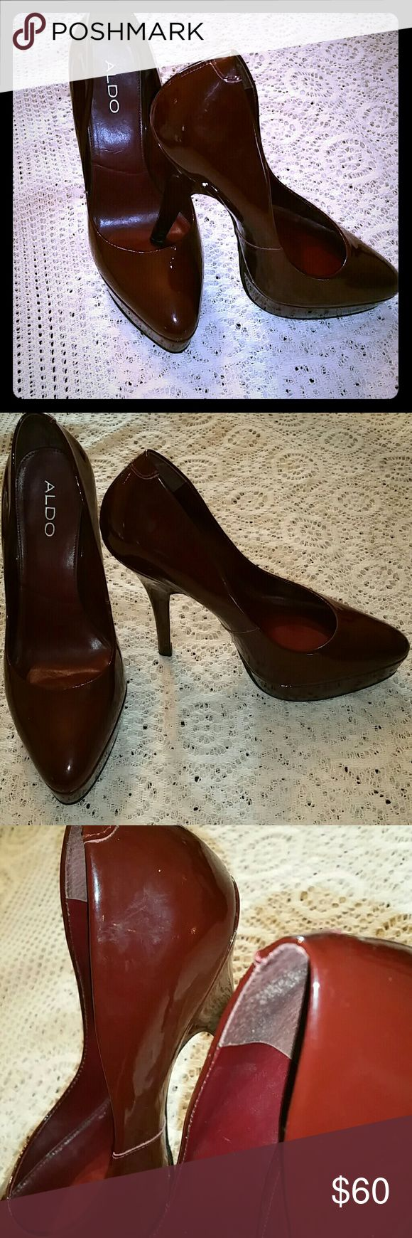 "Women's stiletto heels Burgundy stiletto, patent leather 6"" platform heels. Aldo Shoes Platforms"