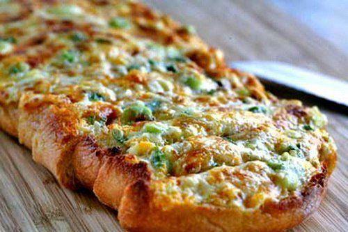 Запеченные бутерброды с сыром и зеленым луком