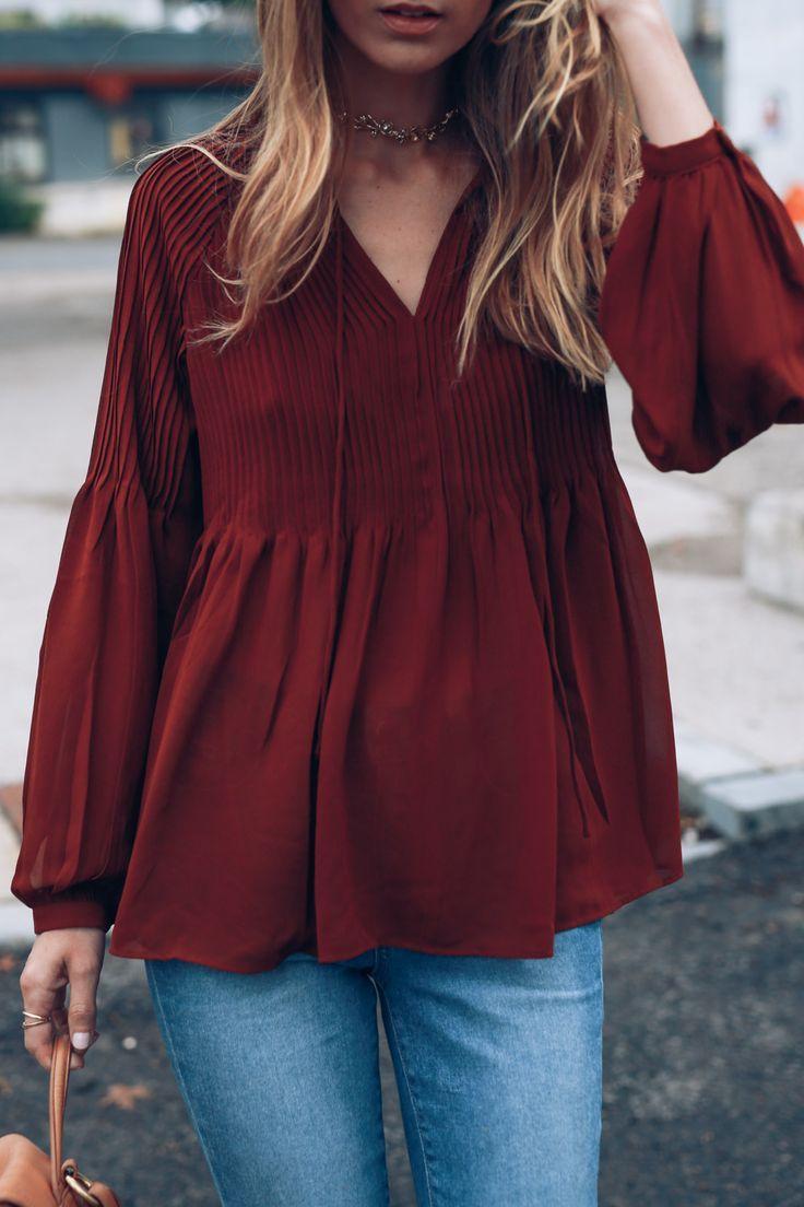 Romantic boho blouse on Jess Kirby for fall