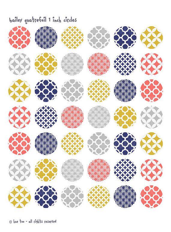 quatrefoil patterns 1 inch circles, collage sheets, pink mustard yellow navy blue bottlecap images, trellis patterns 624