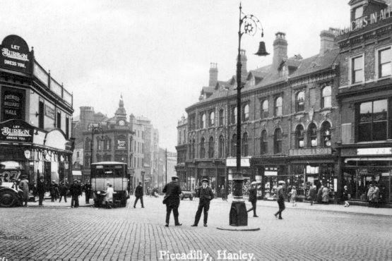 A view down Piccadilly in Hanley in the early 1900's