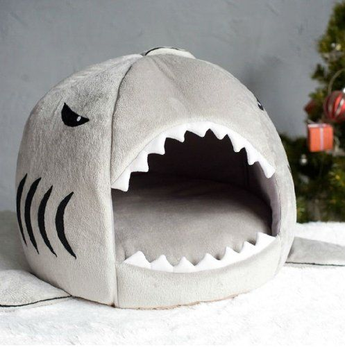 Grey Shark Bed for Small Cat Dog Cave Bed Removable Cushion,waterproof ...