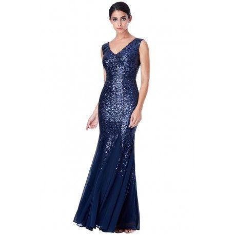 Granatowa długa cekinowa sukienka na sylwestra z szyfonową spódnicą