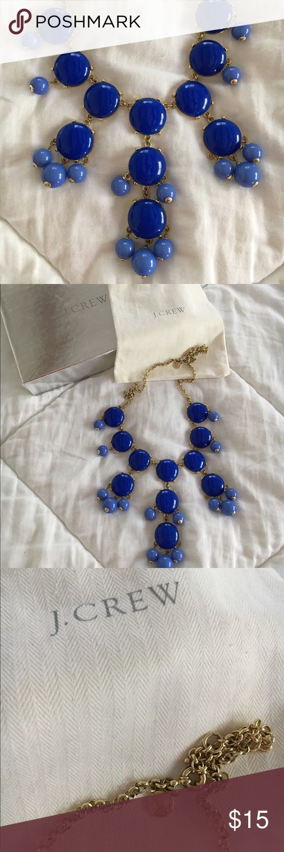 J. Crew Bubble Necklace J. Crew Bubble necklace with original pouch and box. Blue with gold hardware. J. Crew Jewelry Necklaces
