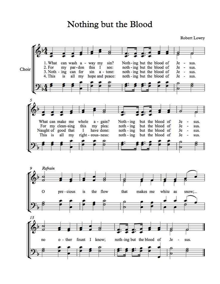 Free Choir Sheet Music Nothing but the Blood