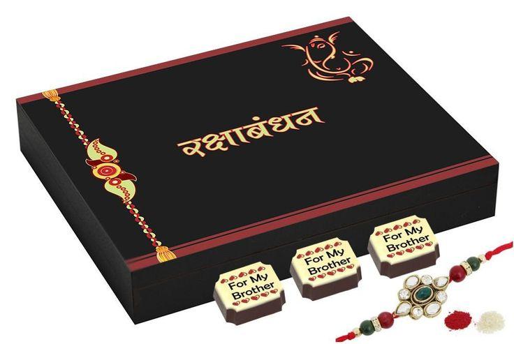 Rakhi gift - 9 Chocolate Gift Box - Rakhi with gifts with Rakhi