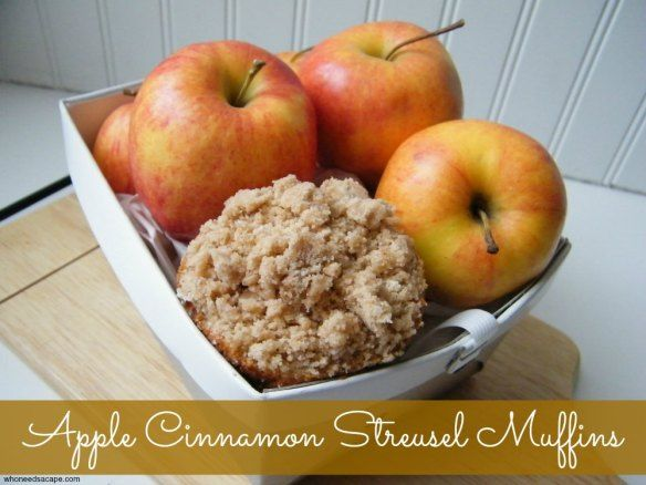 These Apple Cinnamon Streusel Muffins are so yummy! With bits of apple and crumbly topping they make great breakfast items or also for snacks.
