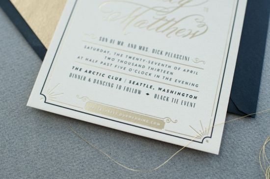 Black White Gold Foil Art Deco Wedding Invitations7 550x365 Blakely + Matthews Glamorous Art Deco Wedding Invitations