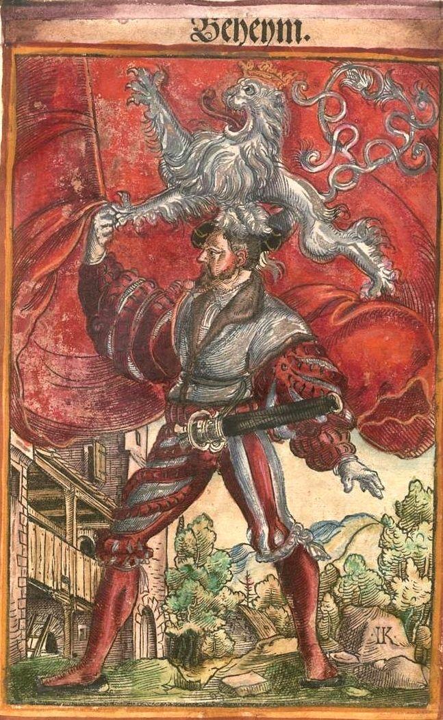 """Böhmen [Beheym] (= Bohême) (f°6) -- Koebel, Jacob, """"Wapen des heyligen römischen Reichs teutscher Nation"""", Franckfurth am Main, 1545 [BSB Ms. Rar. 2155]"""
