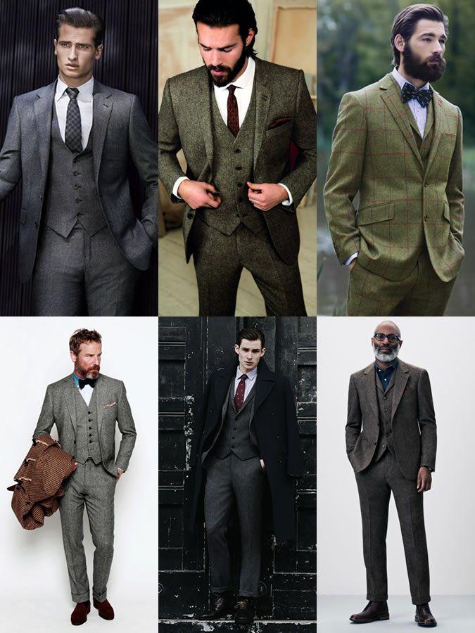 Men's Autumn/Winter Essential Fabrics: Tweed as Three-piece Suit Lookbook Inspiration