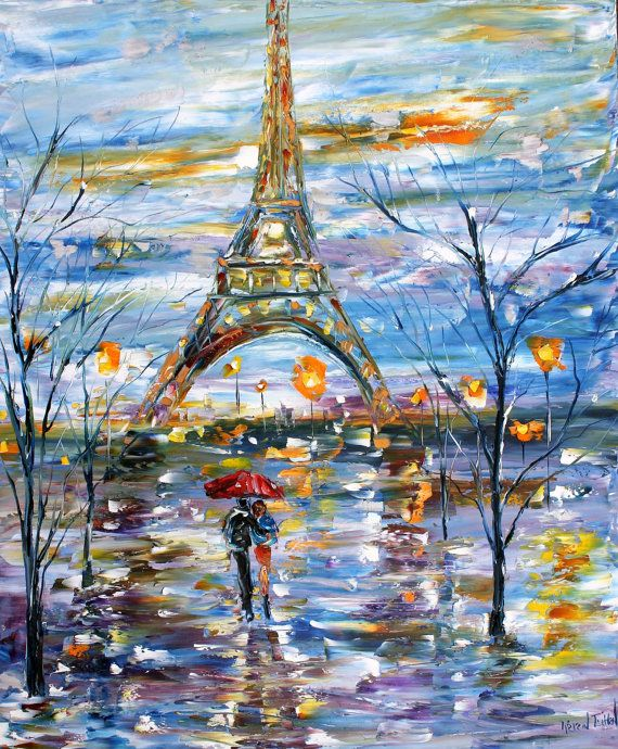 Original oil painting Paris Memories Eiffel Tower on canvas Landscape palette knife modern texture fine art impressionism by Karen Tarlton