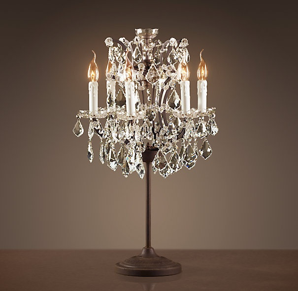 92 best chandeliers lighting images on pinterest chandeliers rococo iron crystal table lamp by restoration hardware aloadofball Images