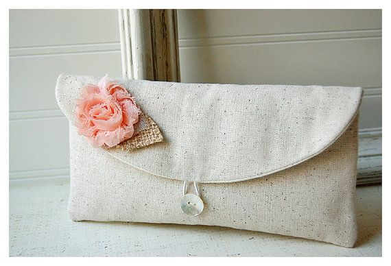 peach blush clutch burlap blue rustic black, gold gray purse wedding rustic raw shabby rose purse Personalize Bridesmaid party gift MakeUp