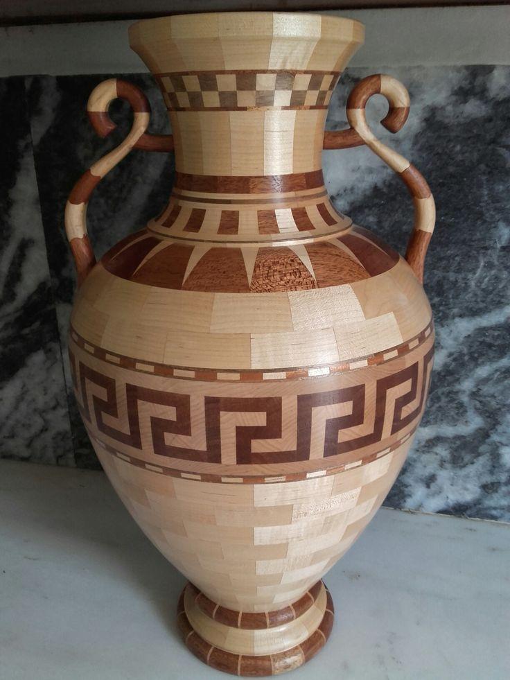 Wooden Greek amphora.type of wood:maple, walnut and niangon.