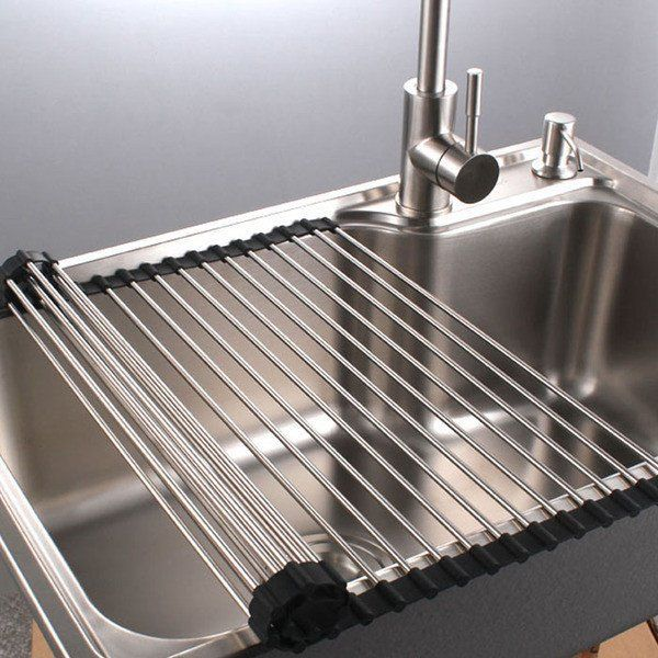 Stainless Steel Over The Sink Dish Rack Roll Up Durable Multipurpose In 2020 Dish Racks Dish Drainers Sink