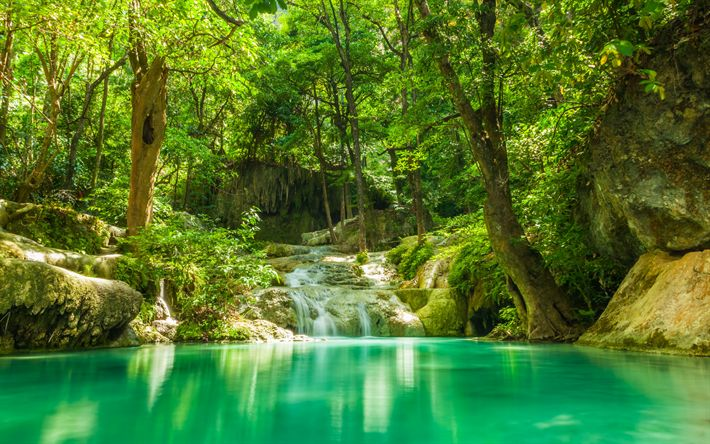 Download wallpapers tropical forest, waterfall, blue lake, Thailand, beautiful waterfalls