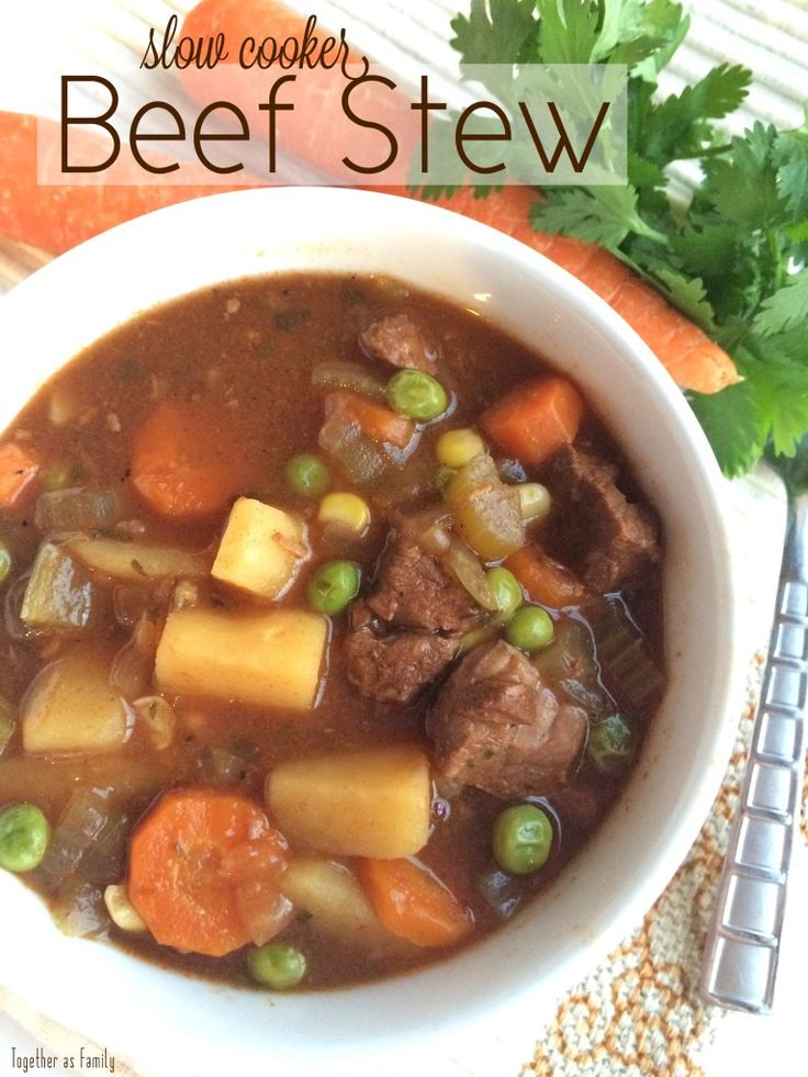 SLOW COOKER BEEF STEW | super tender beef & vegetables cooked in a vegetable beef broth all day! www.togetherasfamily.com