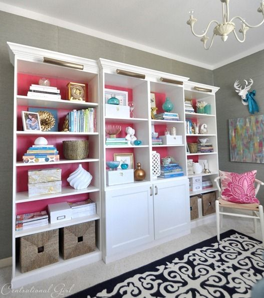 """Built in"" bookcases centsational girl.  Tutorial is here: http://www.centsationalgirl.com/2013/01/besta-billy-brass-bookcases/?utm_source=feedburner_medium=email_campaign=Feed%3A+centsationalgirl%2FcHAf+%28Centsational+Girl%29"