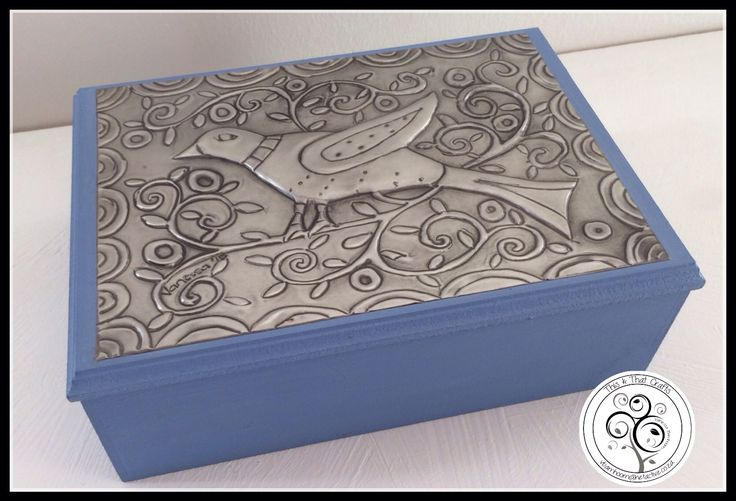 Pewter Bird on Blue Wooden Box
