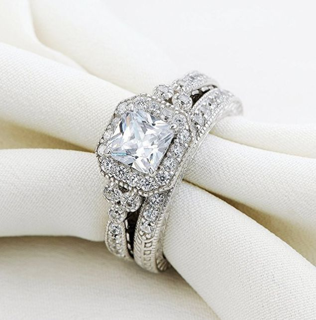 0.8 Carat Vintage Bridal Set Princess White Cz 925 Sterling Silver Wedding Engagement Ring Set