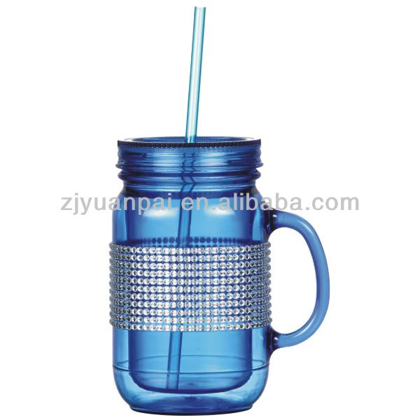double wall plastic mason jars wholesale with handle and straw $0.5~$2.0