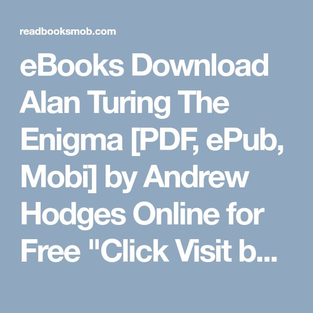 Best 25 alan turing book ideas on pinterest the imitation game ebooks download alan turing the enigma pdf epub mobi by andrew hodges fandeluxe Images