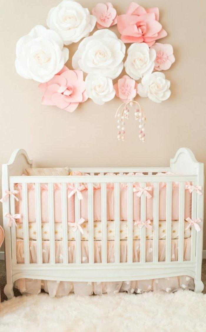 kinderzimmer einrichten babybett als zentrum des zimmer rosen papierblume dekora…