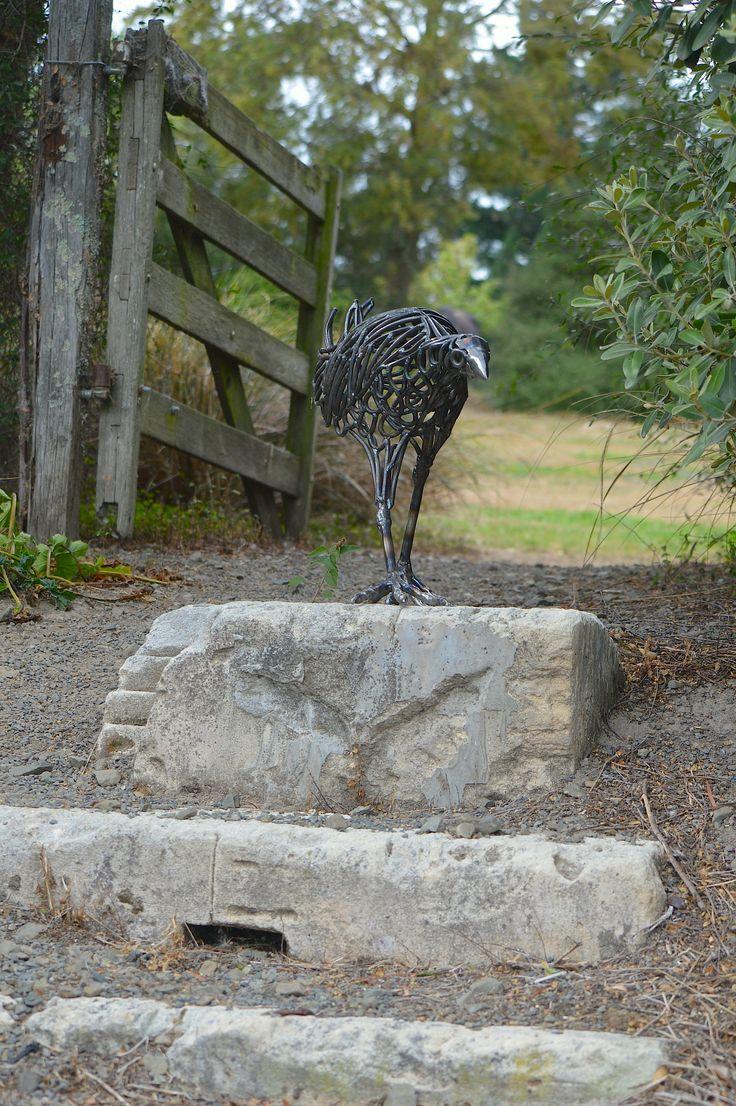 Pukeko sculpture wandering around the artist's garden. Steel sculpture by NZ sculptor Sharon Earl. #NewZealandBirds