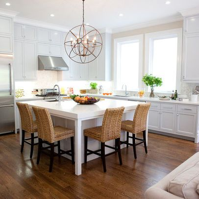 Square island seating on two sides dream kitchen for Square kitchen designs with island