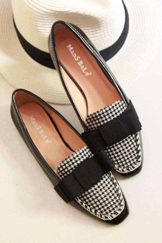 shoes - http://zzkko.com/n206412-013-summer-new-Korean-Houndstooth-bow-square-head-single-shoes-joker-small-single-shoes-flat-shoes-tide-shoes.html $28.62